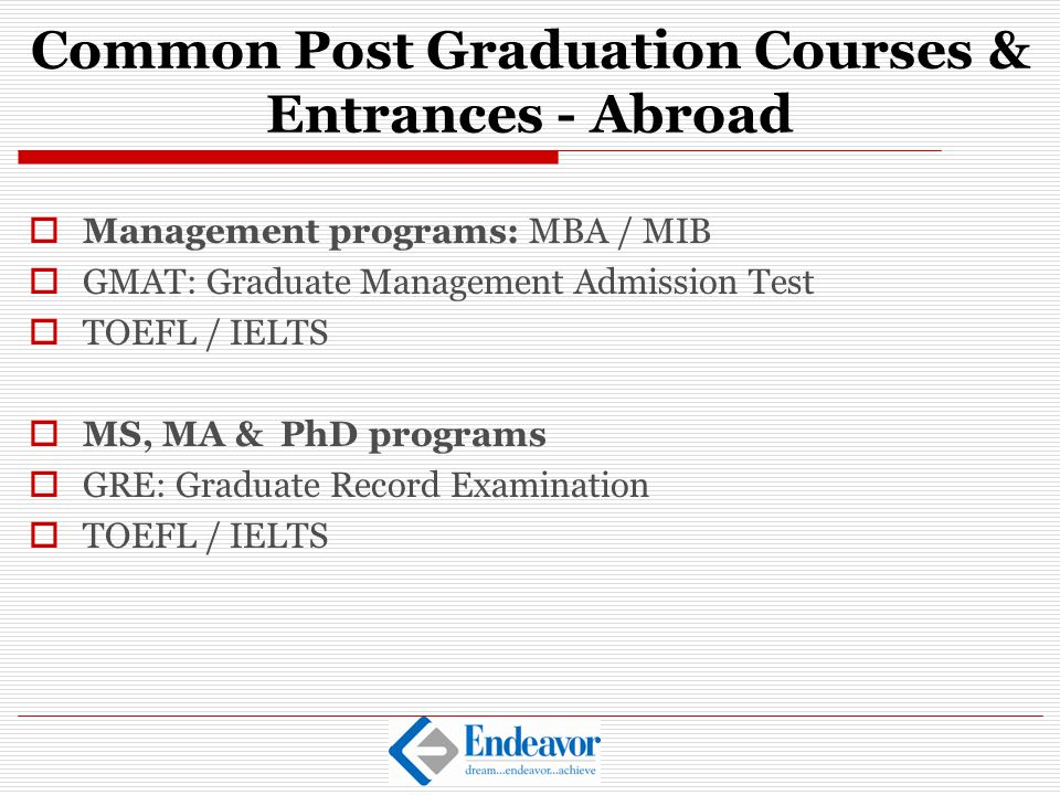Common Post Graduation Courses & Entrances - Abroad
