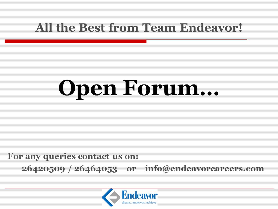 All the Best from Team Endeavor!