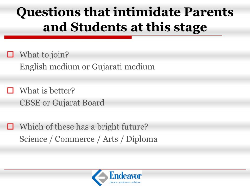 Questions that intimidate Parents and Students at this stage