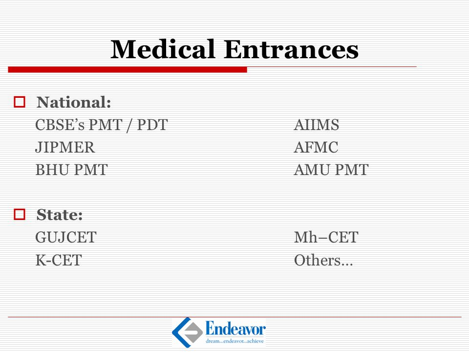 Medical Entrances National: CBSE's PMT / PDT AIIMS JIPMER AFMC