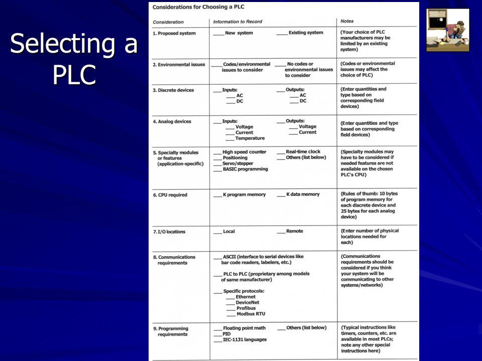 Selecting a PLC 1