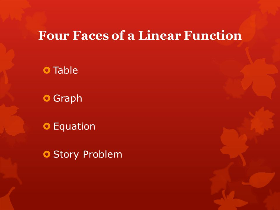 Four Faces of a Linear Function
