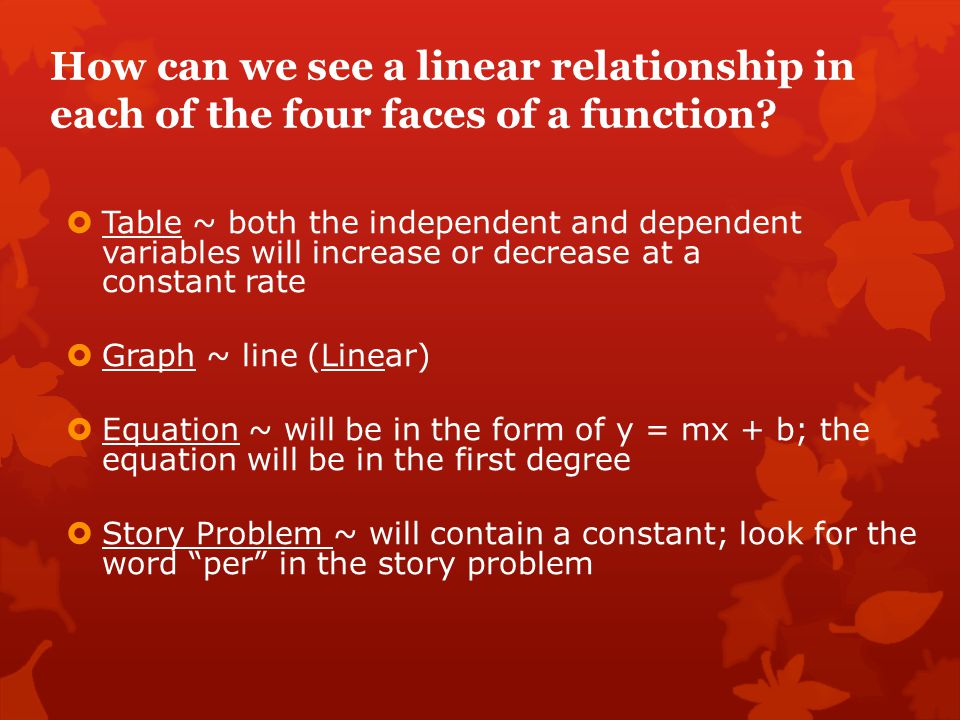 How can we see a linear relationship in each of the four faces of a function