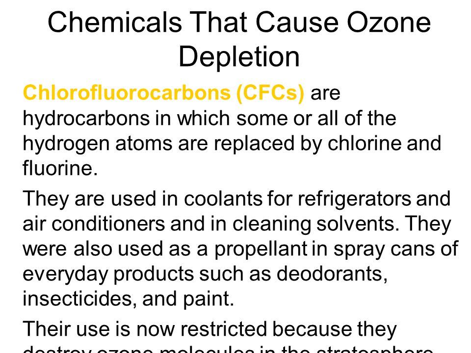 Chemicals That Cause Ozone Depletion