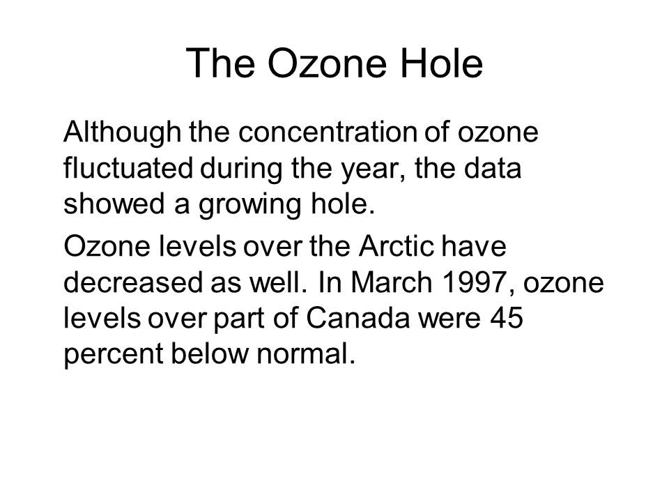 The Ozone Hole Although the concentration of ozone fluctuated during the year, the data showed a growing hole.