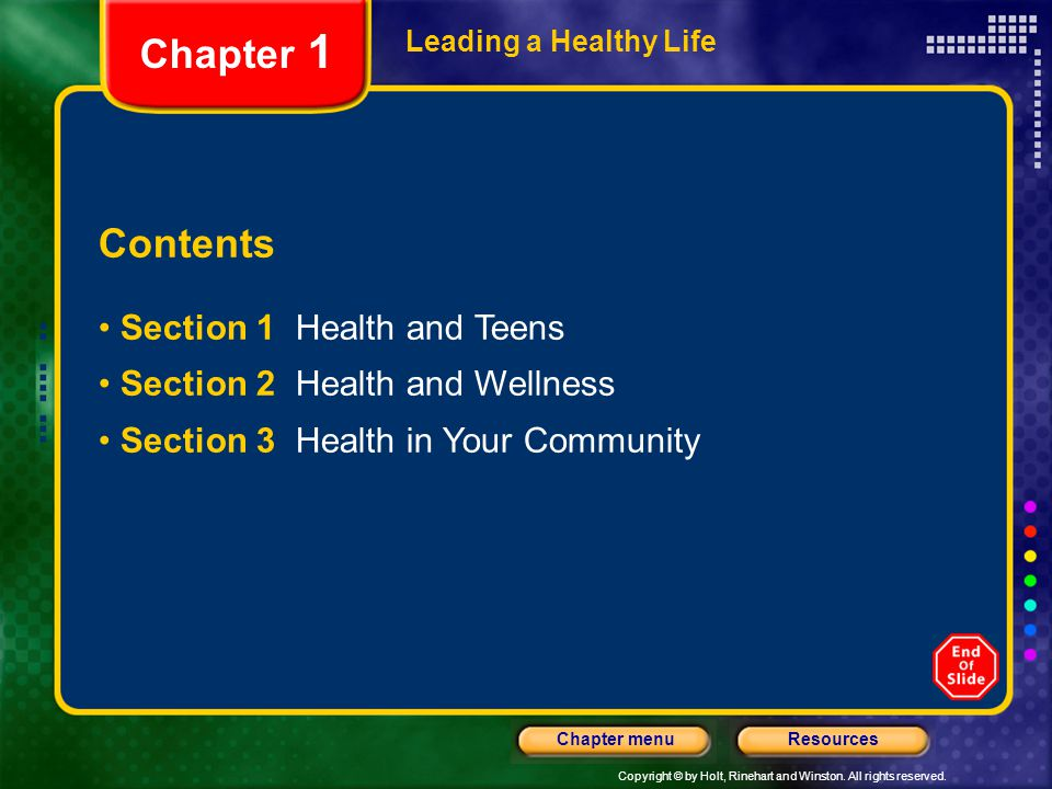 Chapter 1 Contents Section 1 Health and Teens