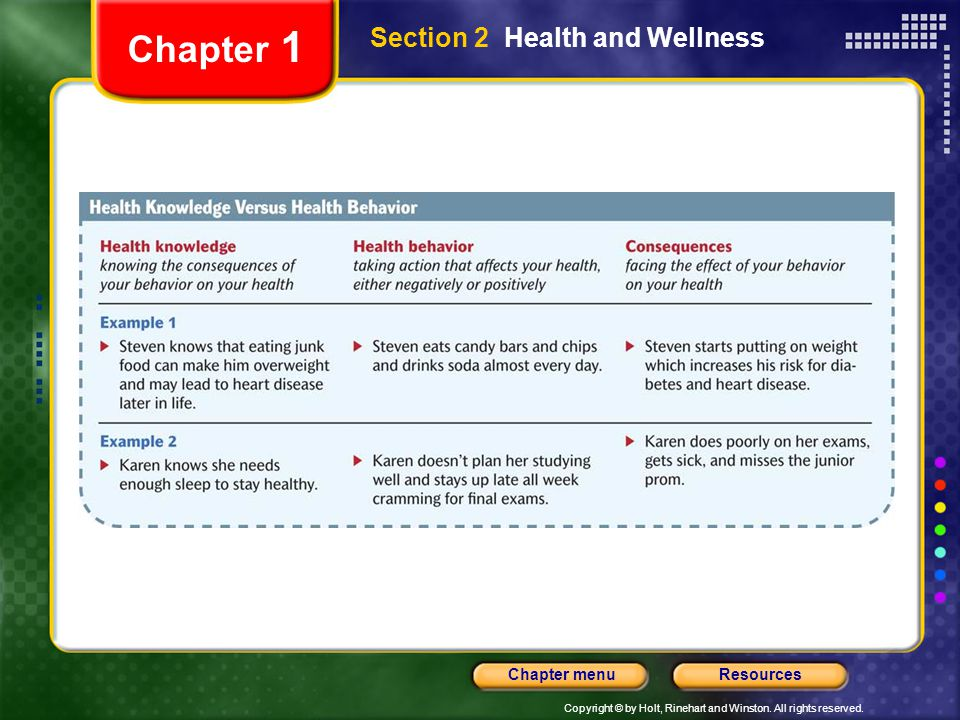 Chapter 1 Section 2 Health and Wellness