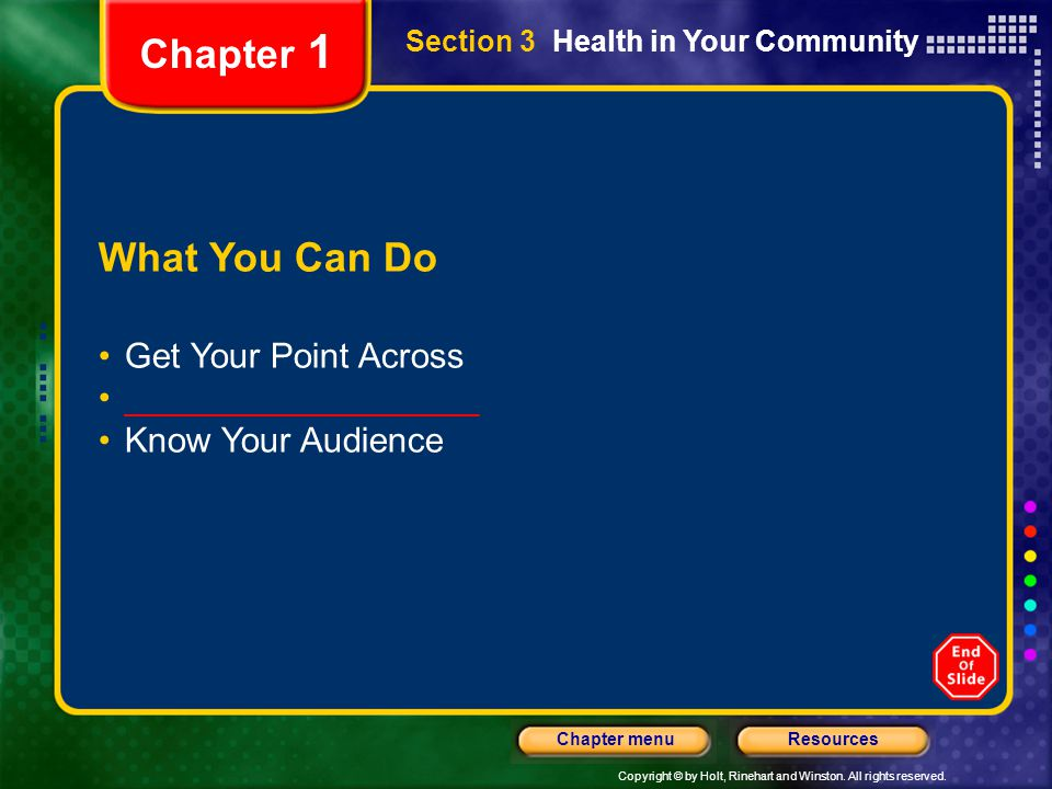 Chapter 1 What You Can Do Get Your Point Across __________________