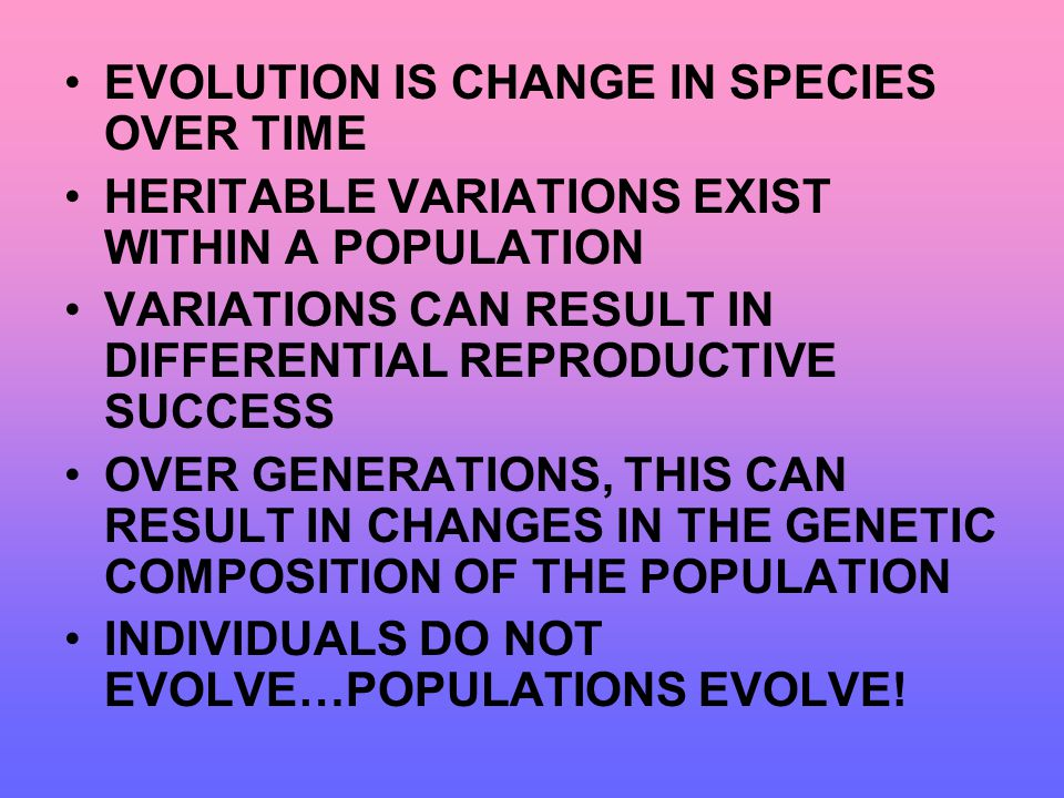 EVOLUTION IS CHANGE IN SPECIES OVER TIME