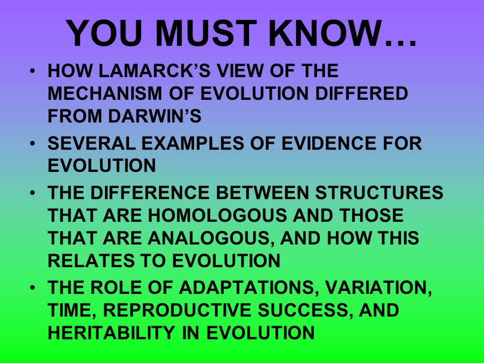 YOU MUST KNOW… HOW LAMARCK'S VIEW OF THE MECHANISM OF EVOLUTION DIFFERED FROM DARWIN'S. SEVERAL EXAMPLES OF EVIDENCE FOR EVOLUTION.