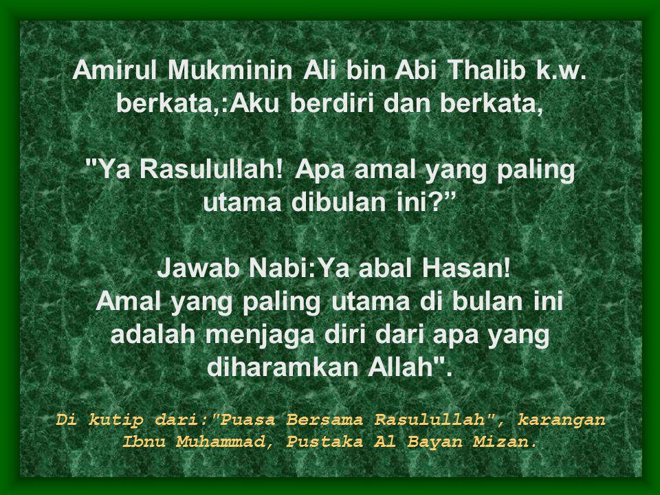 Amirul Mukminin Ali bin Abi Thalib k. w