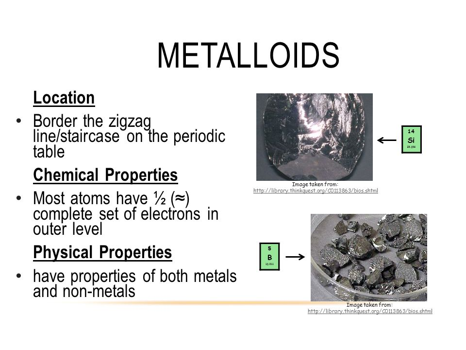 Metalloids Location. Border the zigzag line/staircase on the periodic table. Chemical Properties.