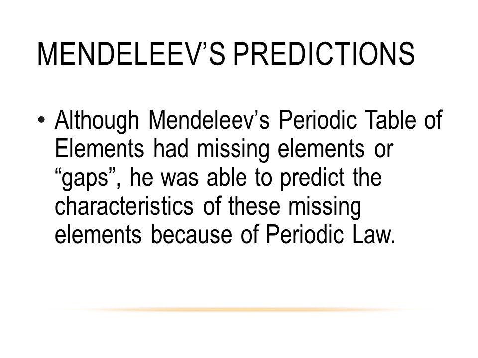 Mendeleev's Predictions