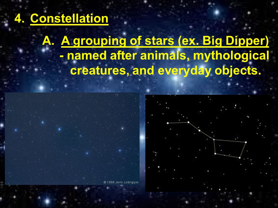Constellation A. A grouping of stars (ex.