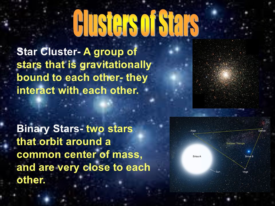 Clusters of Stars Star Cluster- A group of stars that is gravitationally bound to each other- they interact with each other.
