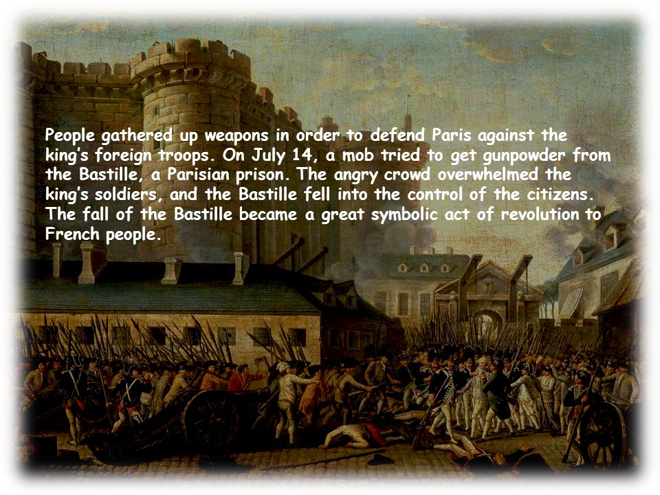 People gathered up weapons in order to defend Paris against the king's foreign troops.