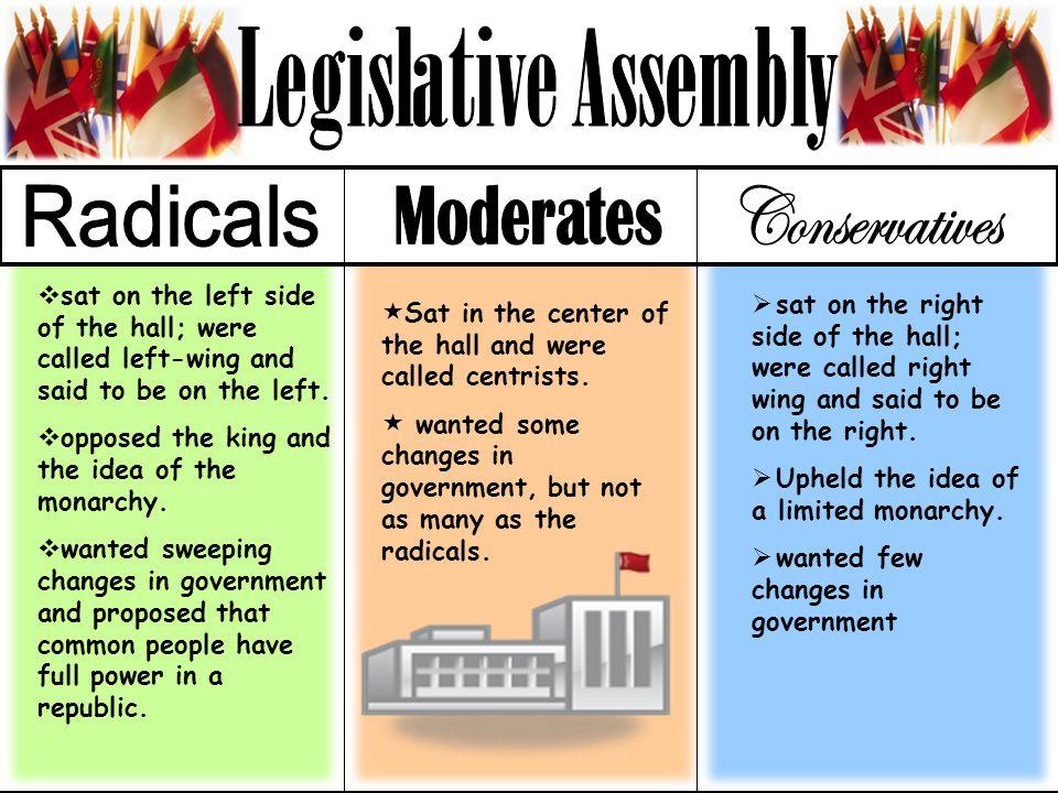 Legislative Assembly Radicals Moderates Conservatives