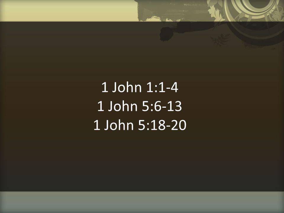 1 John 1:1-4 1 John 5:6-13 1 John 5:18-20