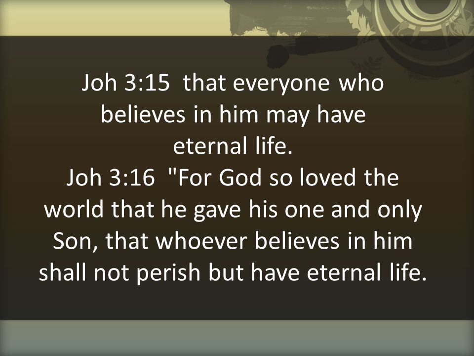 Joh 3:15 that everyone who believes in him may have eternal life