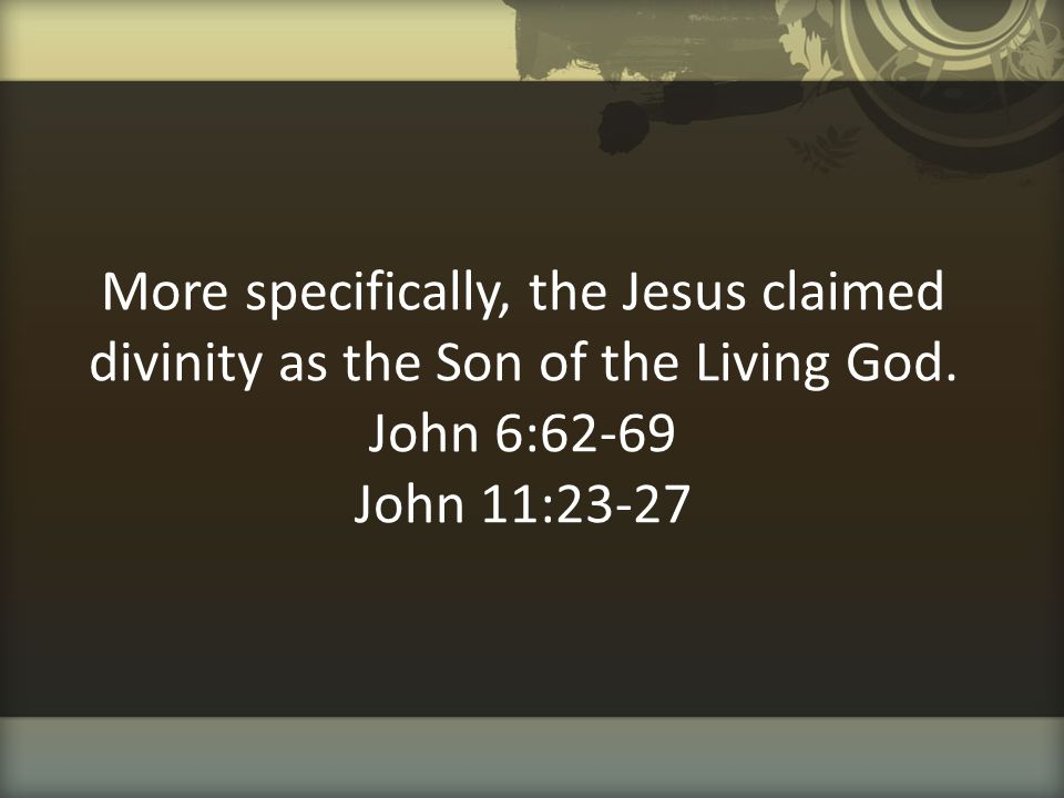More specifically, the Jesus claimed divinity as the Son of the Living God.