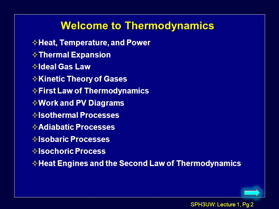 Welcome to Thermodynamics
