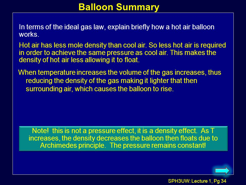 Balloon Summary In terms of the ideal gas law, explain briefly how a hot air balloon works.