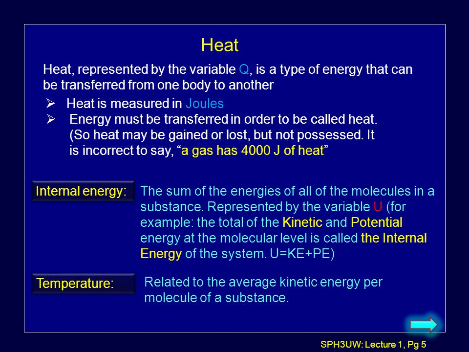 Heat Heat, represented by the variable Q, is a type of energy that can be transferred from one body to another.