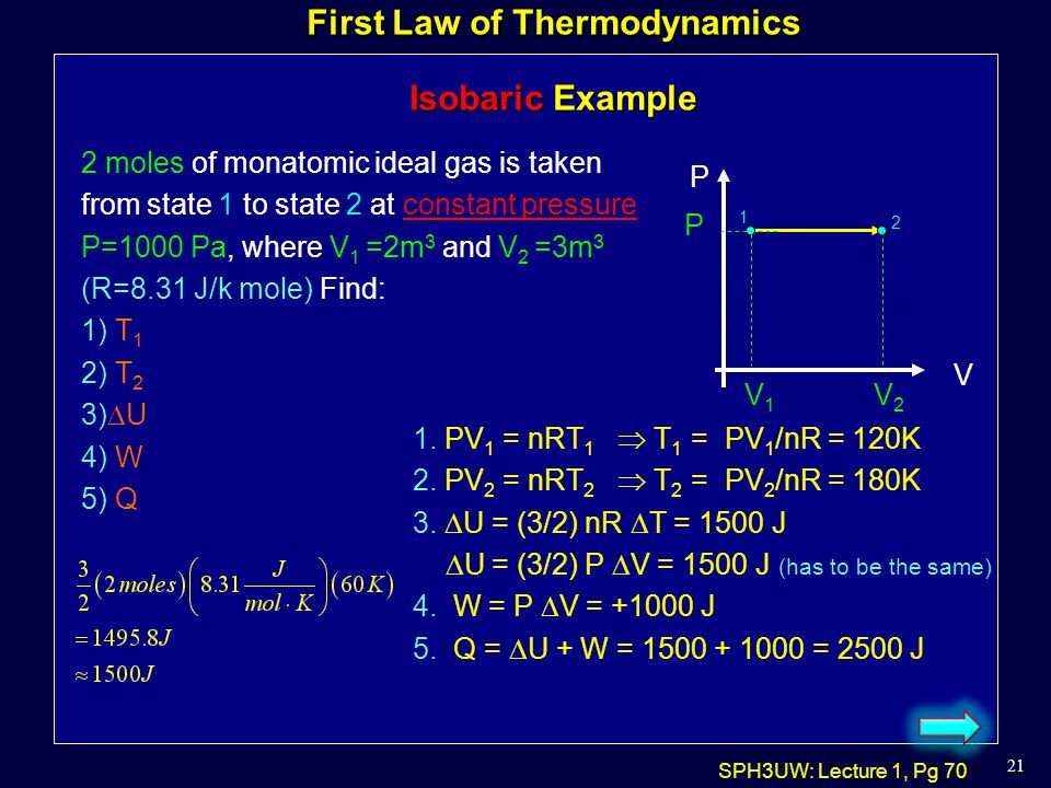 First Law of Thermodynamics Isobaric Example