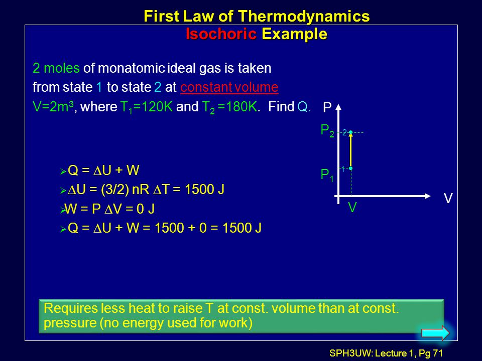 First Law of Thermodynamics Isochoric Example