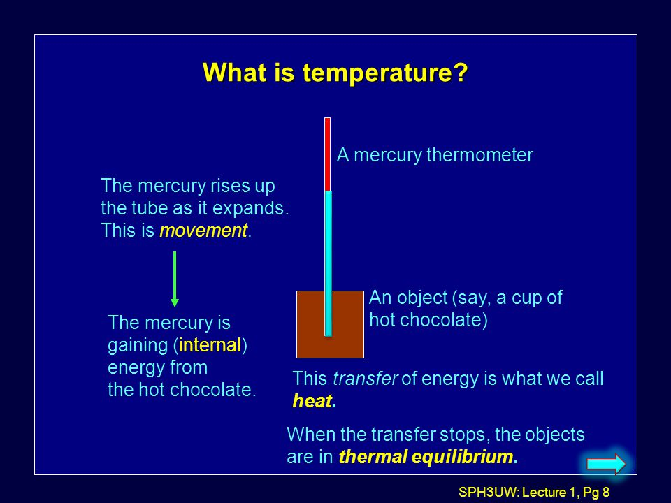 What is temperature A mercury thermometer The mercury rises up