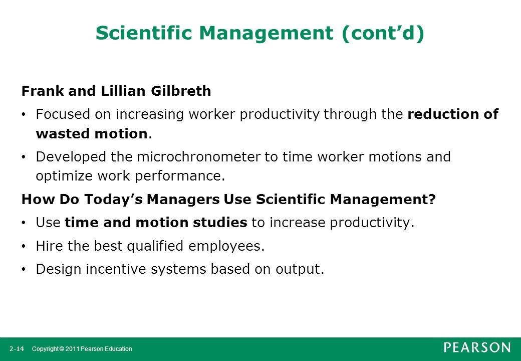 Scientific Management (cont'd)