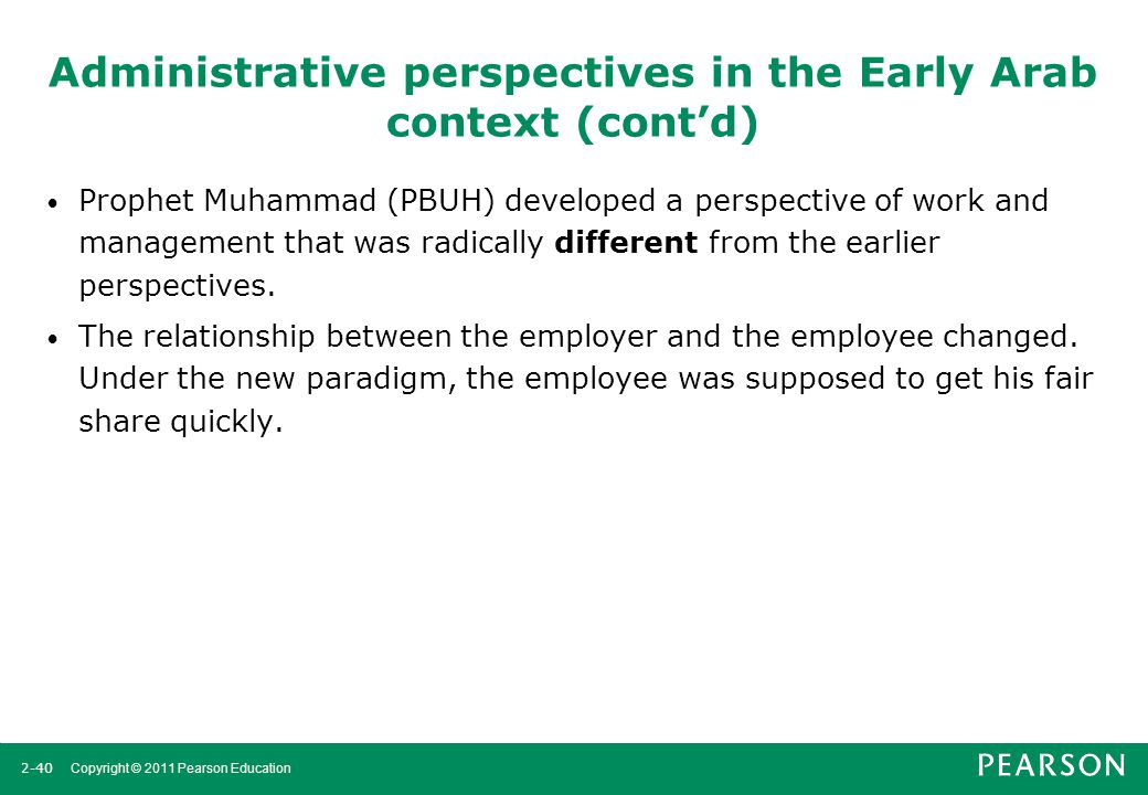 Administrative perspectives in the Early Arab context (cont'd)