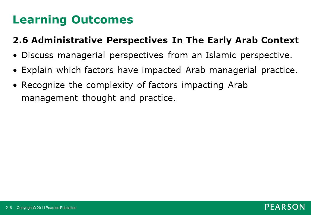 Learning Outcomes 2.6 Administrative Perspectives In The Early Arab Context. Discuss managerial perspectives from an Islamic perspective.