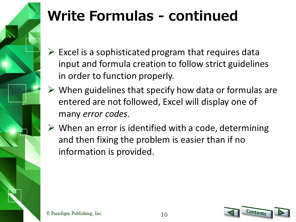Write Formulas - continued
