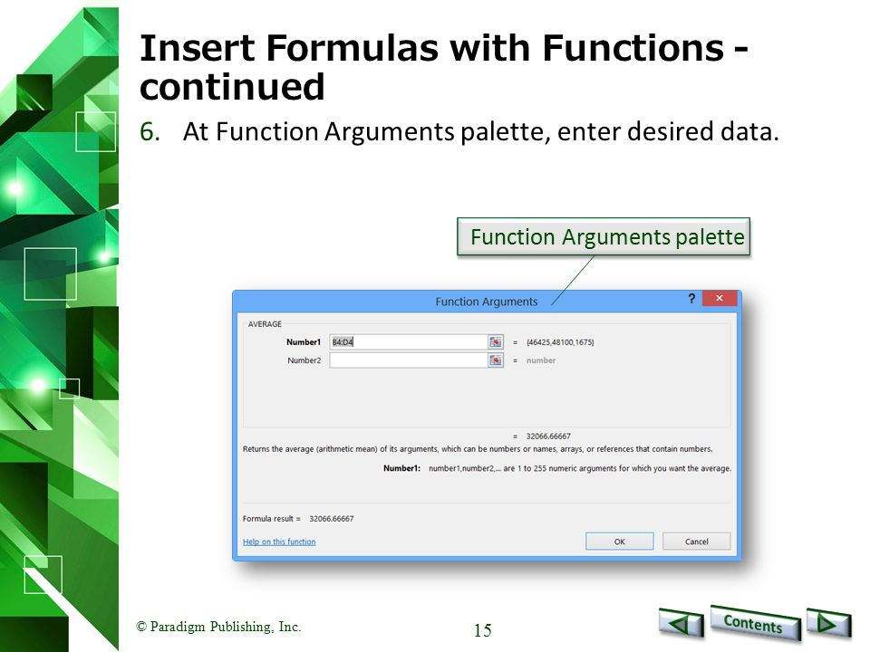 Insert Formulas with Functions - continued