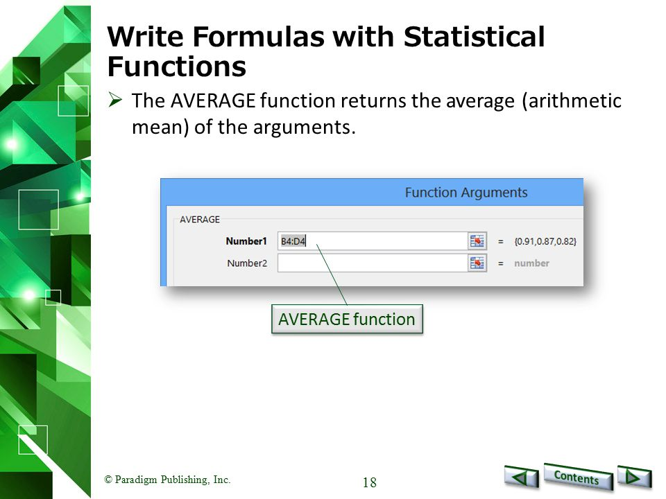 Write Formulas with Statistical Functions