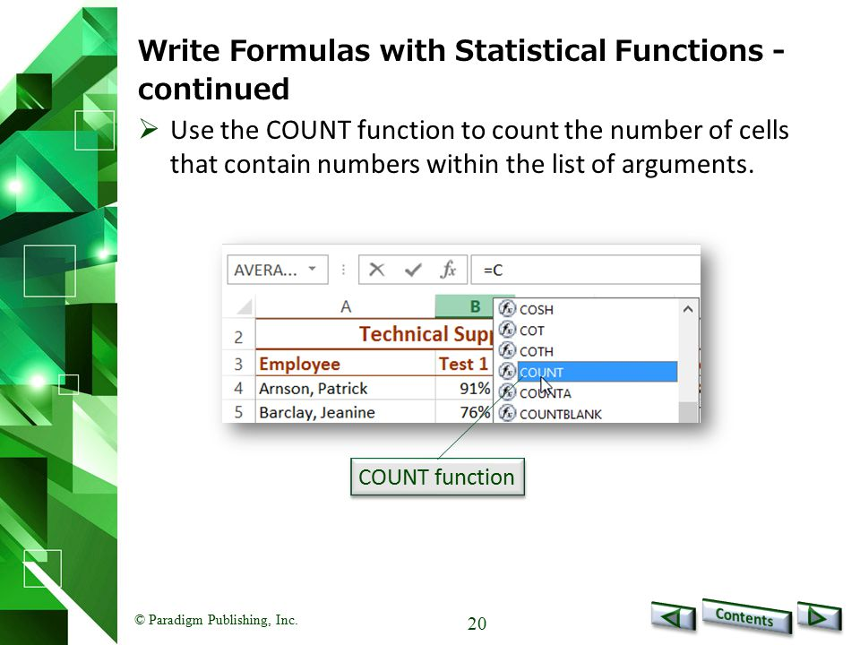 Write Formulas with Statistical Functions - continued