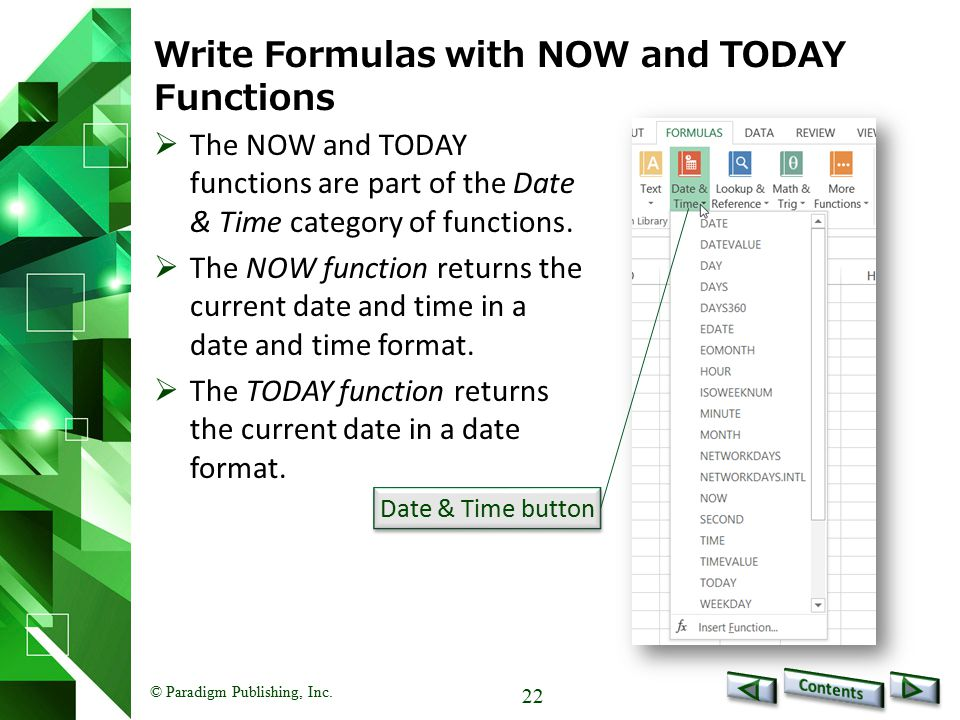 Write Formulas with NOW and TODAY Functions