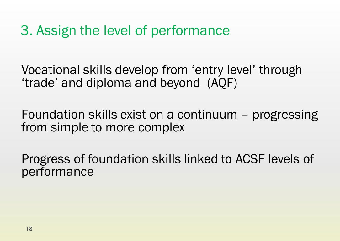 3. Assign the level of performance