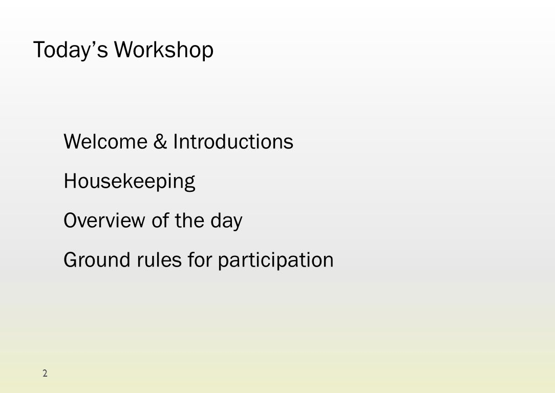 Today's Workshop Welcome & Introductions Housekeeping