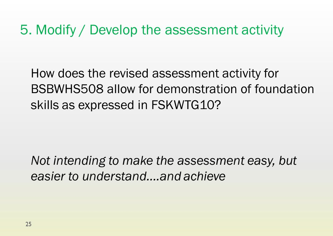 5. Modify / Develop the assessment activity