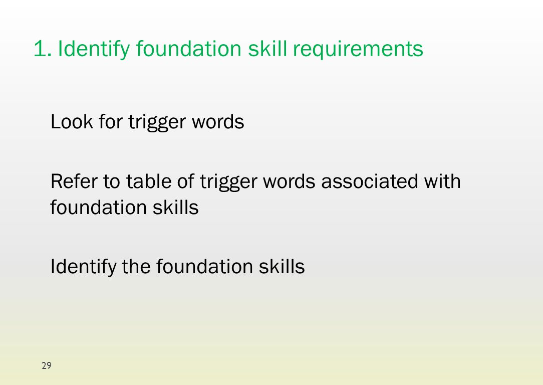 1. Identify foundation skill requirements