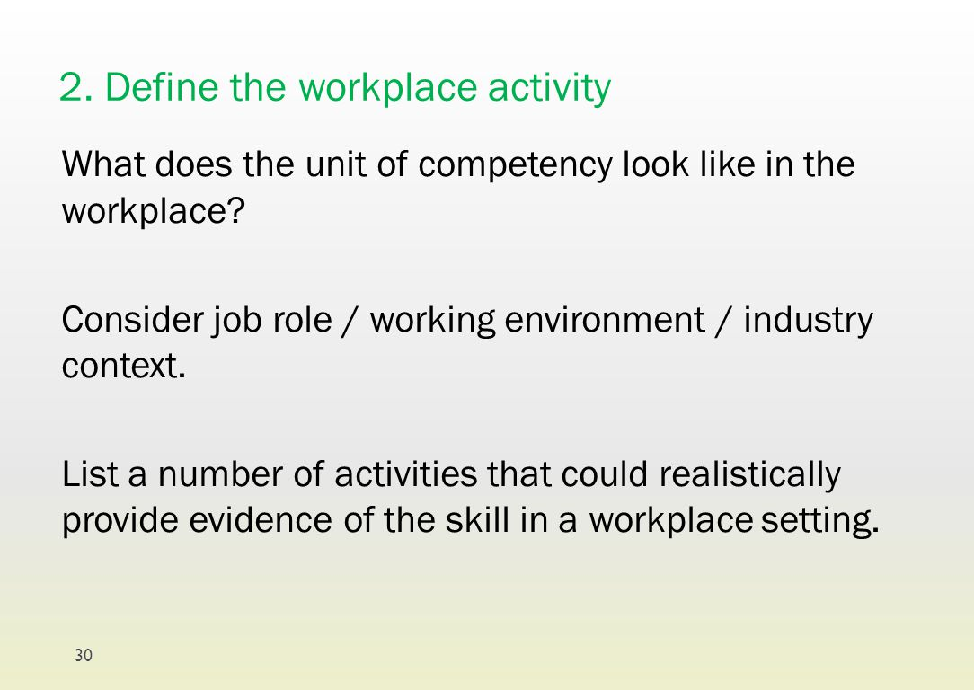 2. Define the workplace activity