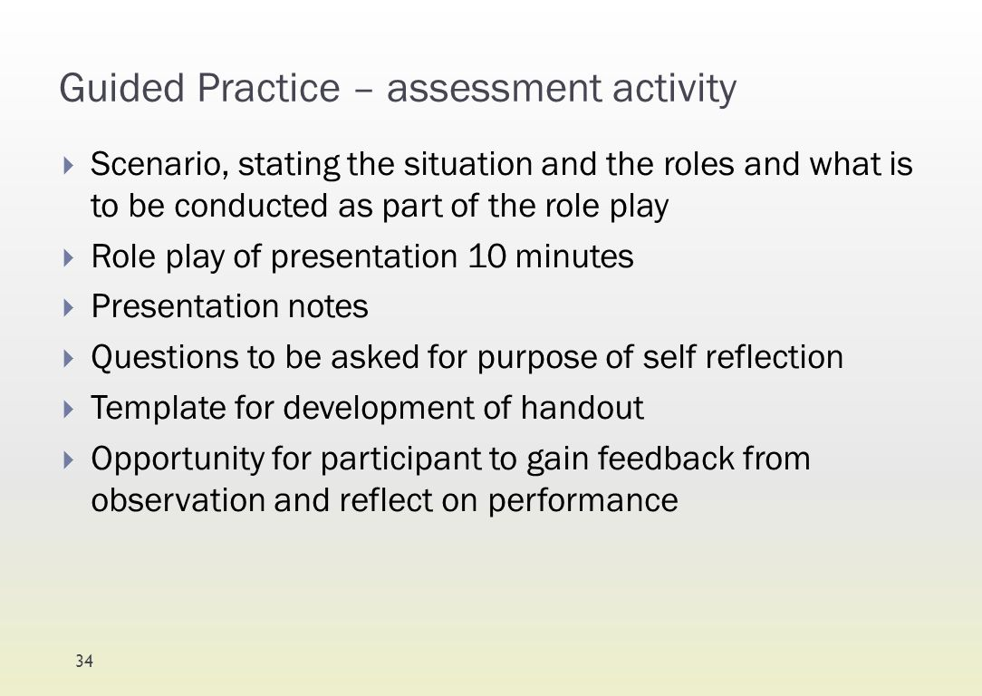 Guided Practice – assessment activity