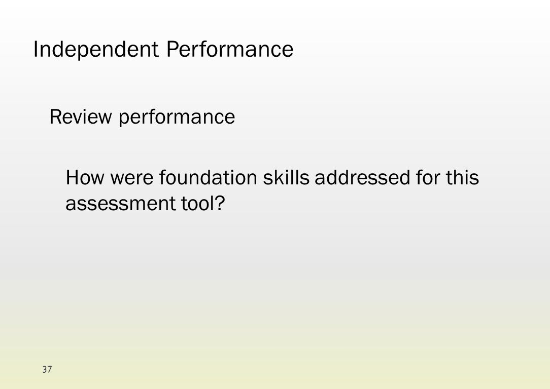 Independent Performance