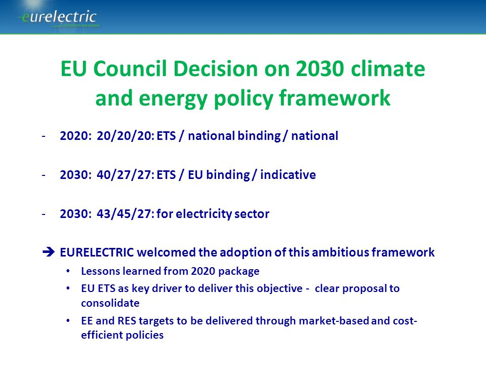 EU Council Decision on 2030 climate and energy policy framework