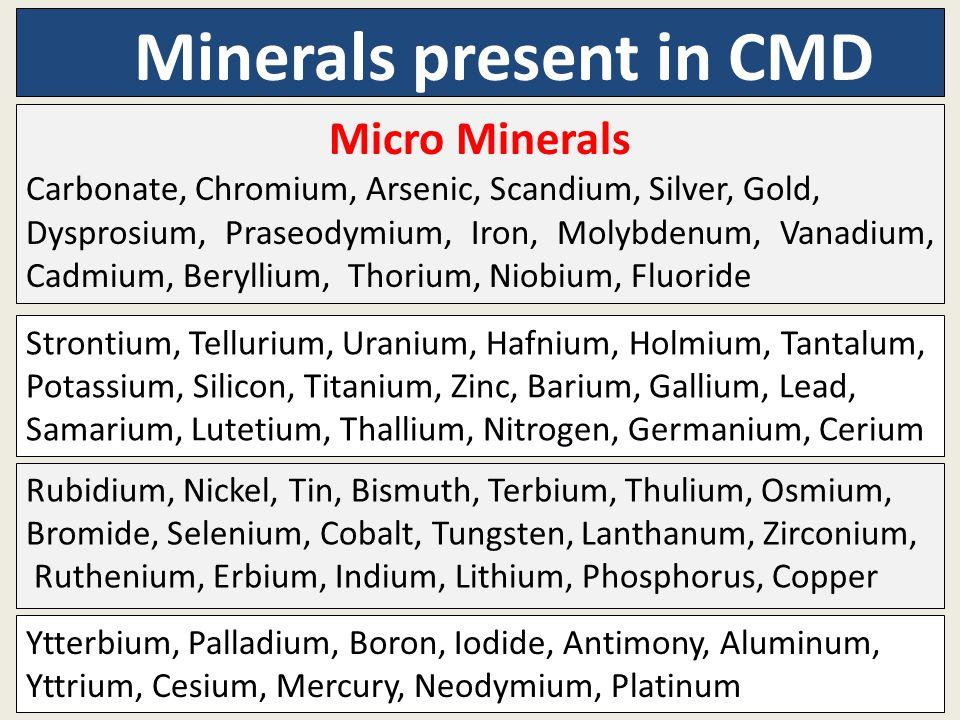 Minerals present in CMD