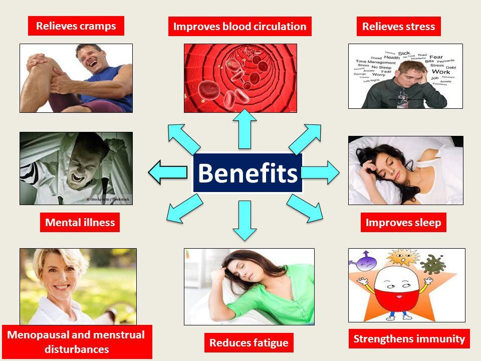 Improves blood circulation Menopausal and menstrual