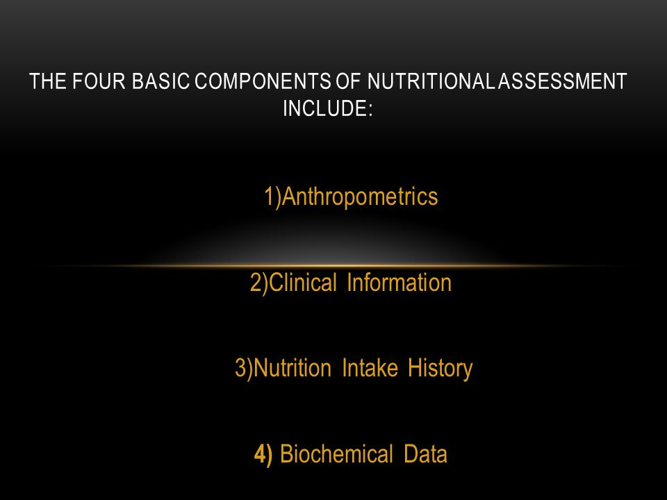 The four basic components of nutritional assessment include: