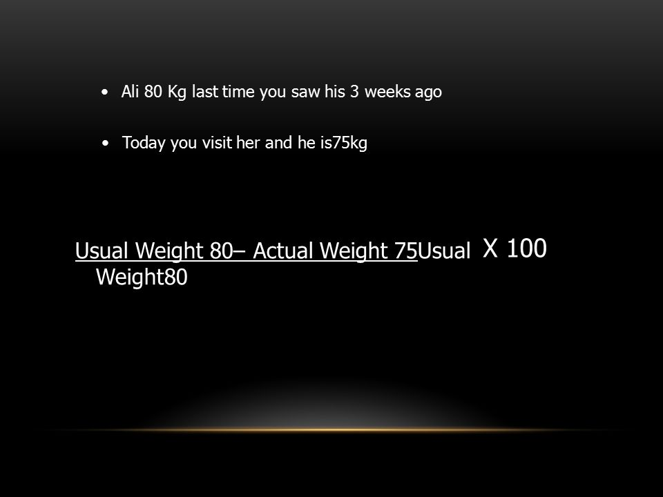 X 100 Usual Weight 80– Actual Weight 75Usual Weight80
